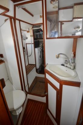 Aft shower and washing machine