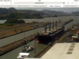 Passing through the Panama canal (image from web cam)